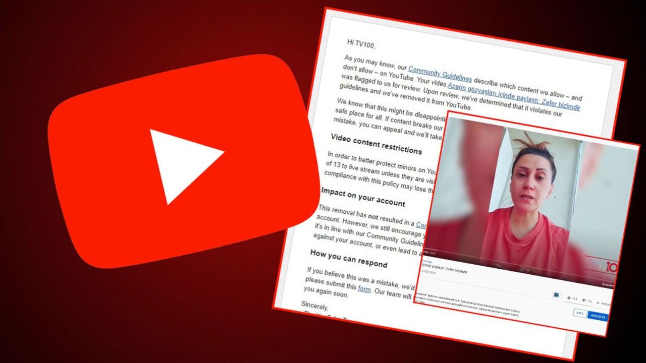 tv100 canlı yayınına Youtube sansürü