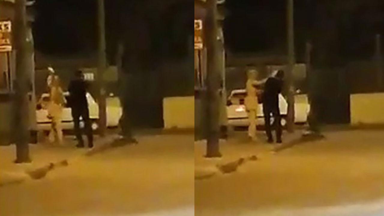 Sokak ortasında erkeğe şiddet!