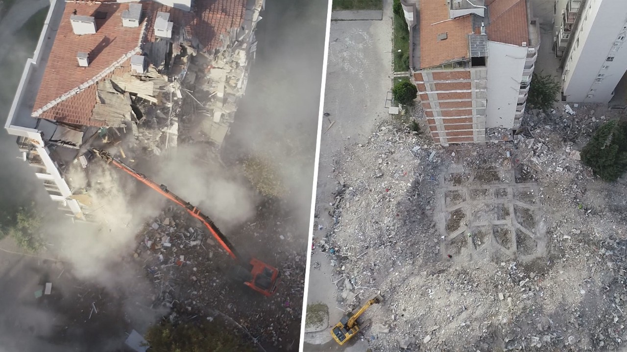 İzmir'de kaldırılan enkazlar havadan görüntülendi
