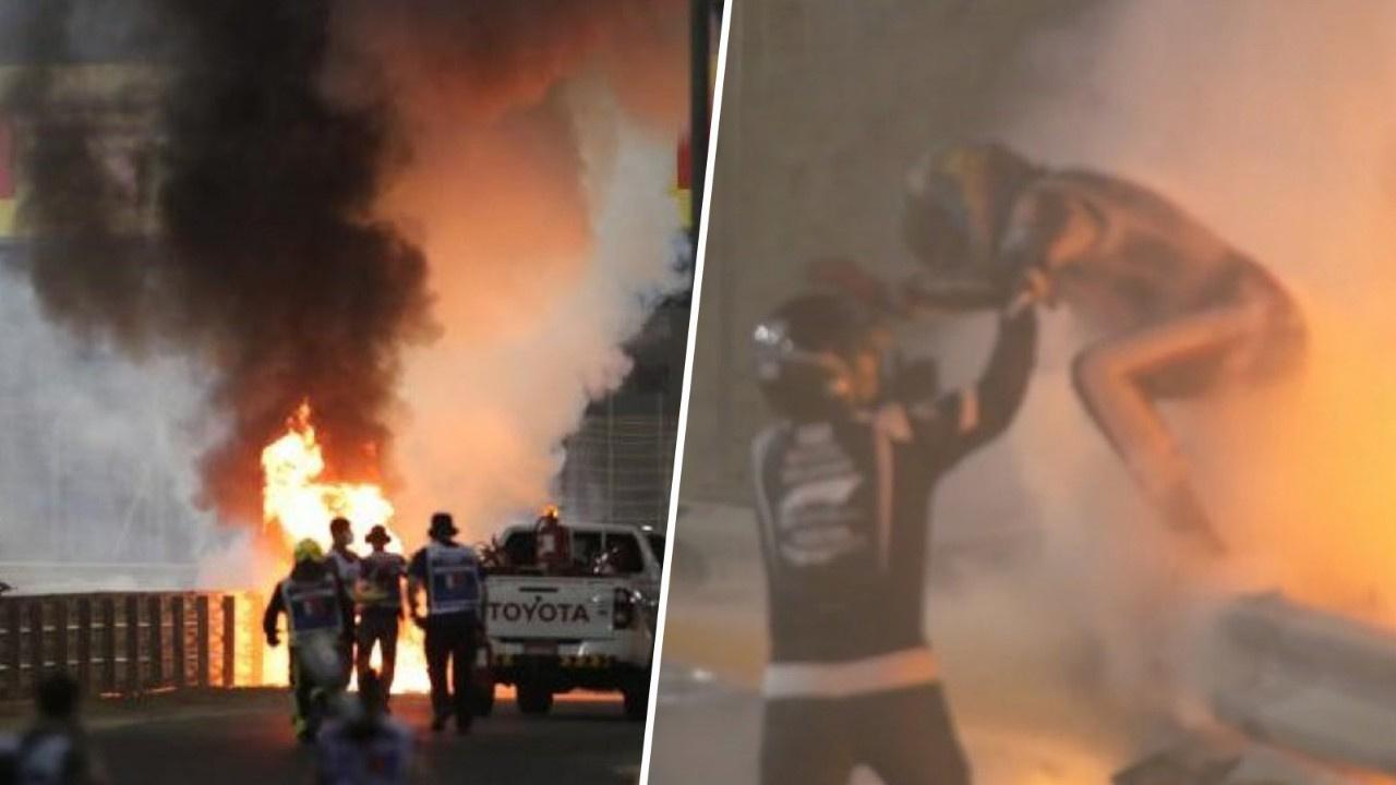 Formula 1 Bahreyn GP'de araç alev aldı
