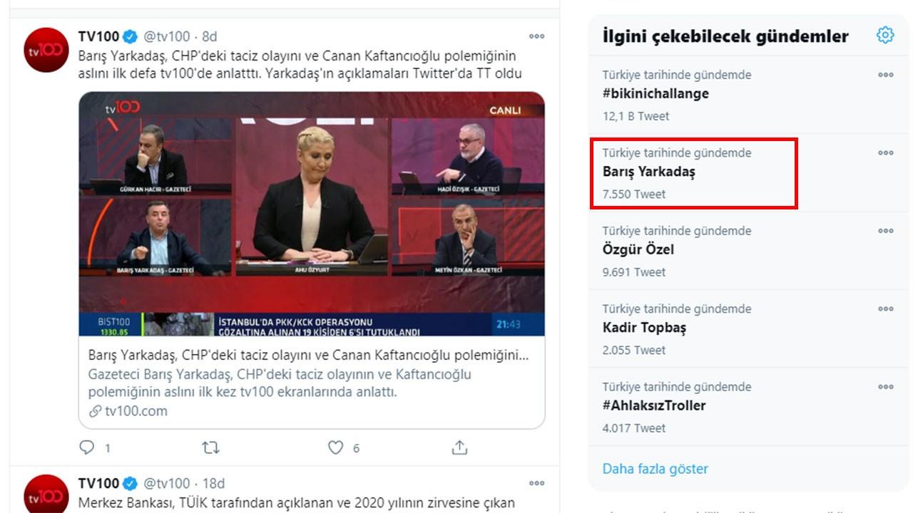 Barış Yarkadaş'ın tv100'deki sözleri gündem oldu