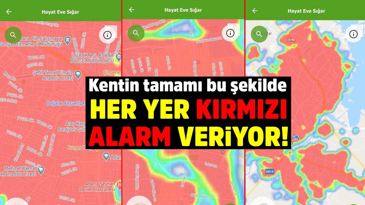 Adana, Hayat Eve Sığar uygulamasında koyu kırmızıya döndü! Tüm kent risk  altında sadece mezarlıklar riskli değil
