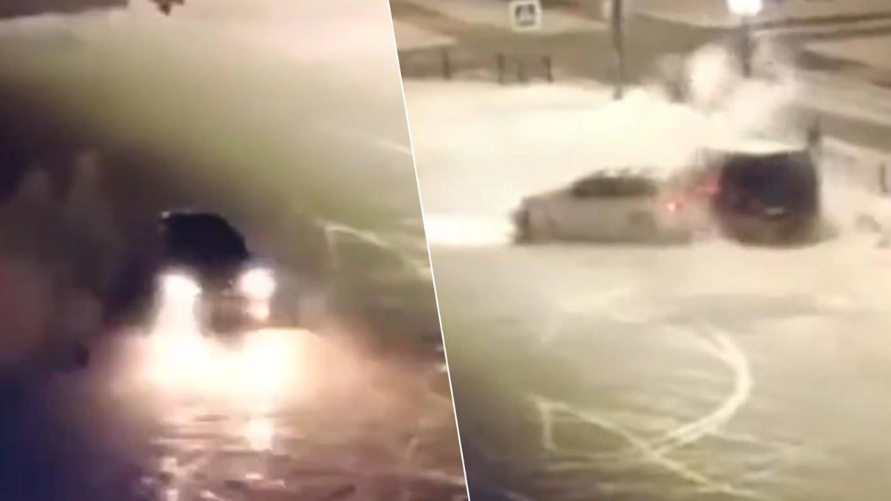 Rusya'da Porsche ile drift atan maganda kaza yaptı