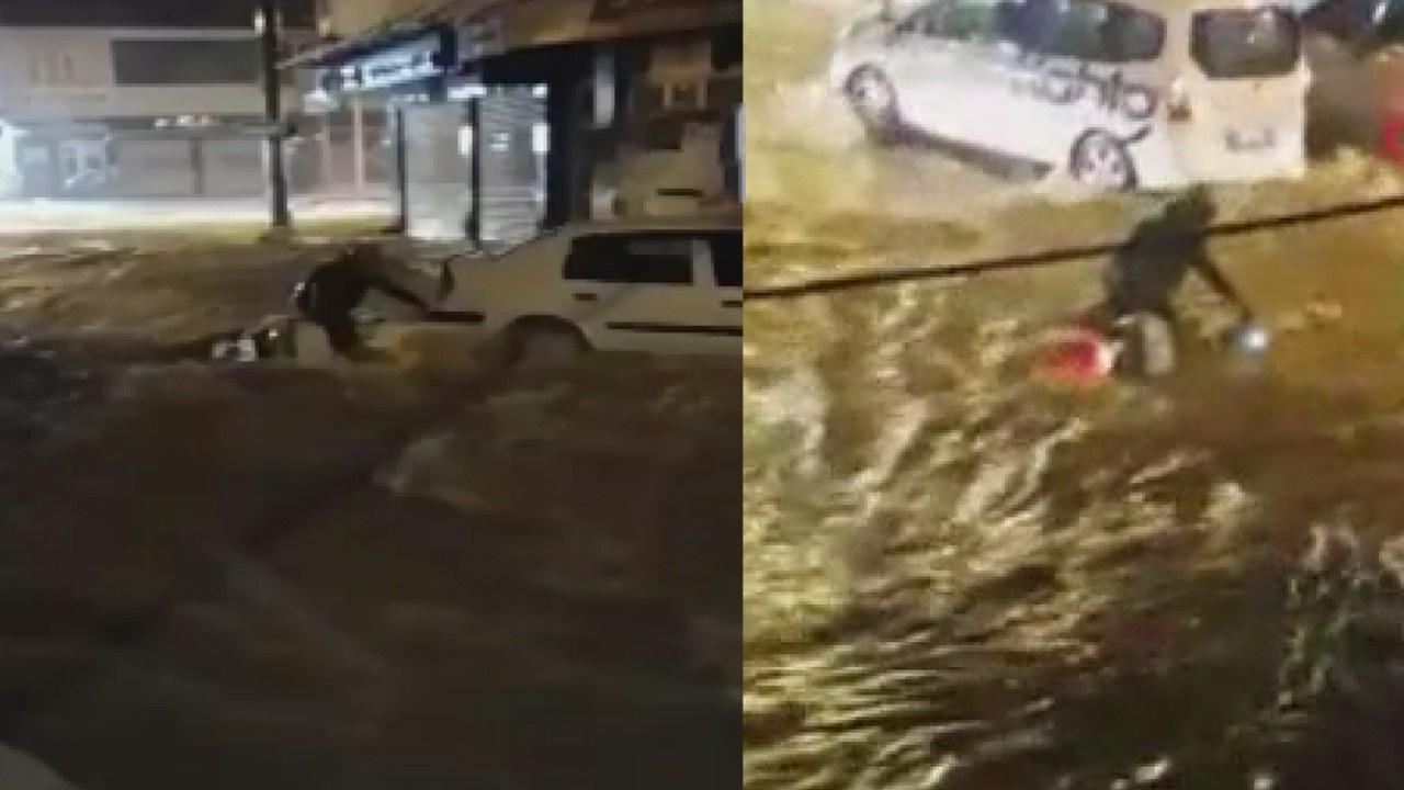 Sel suları otomobil ve motosikleti sürükledi...