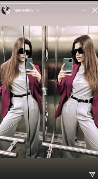 Hande Erçel asansör pozu
