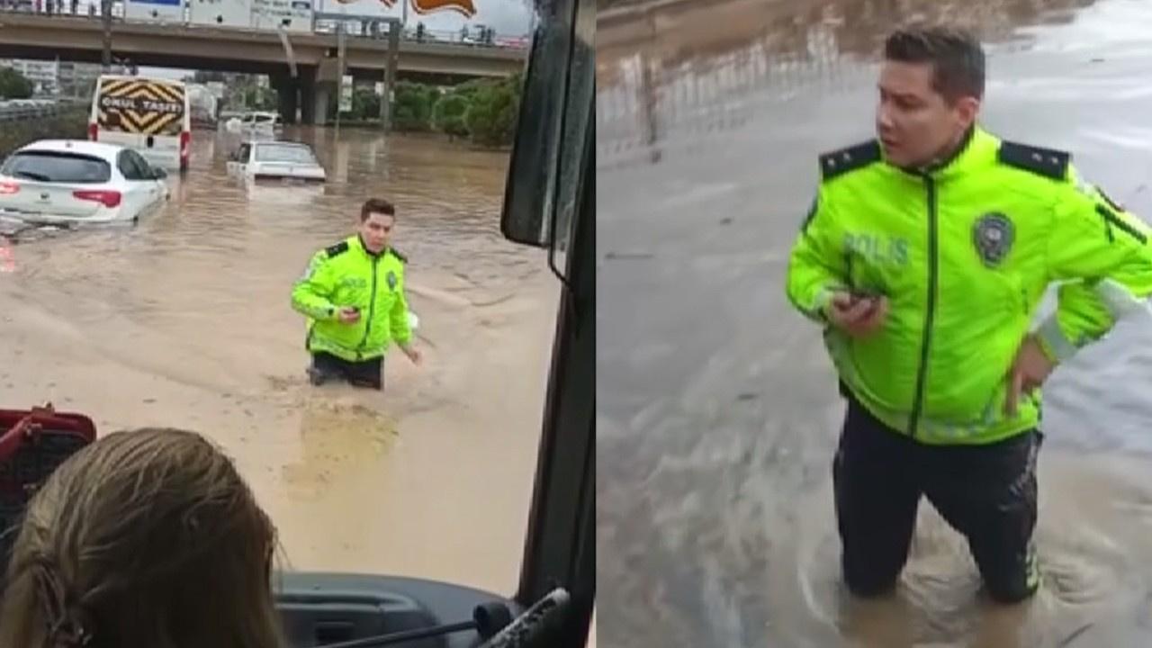 Beline kadar suya girip araçları kontrol etti