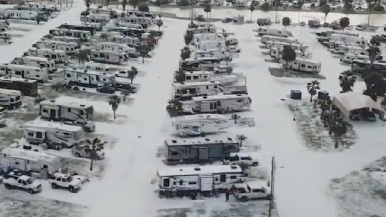 Kış fırtınasının etkisi drone ile görüntülendi