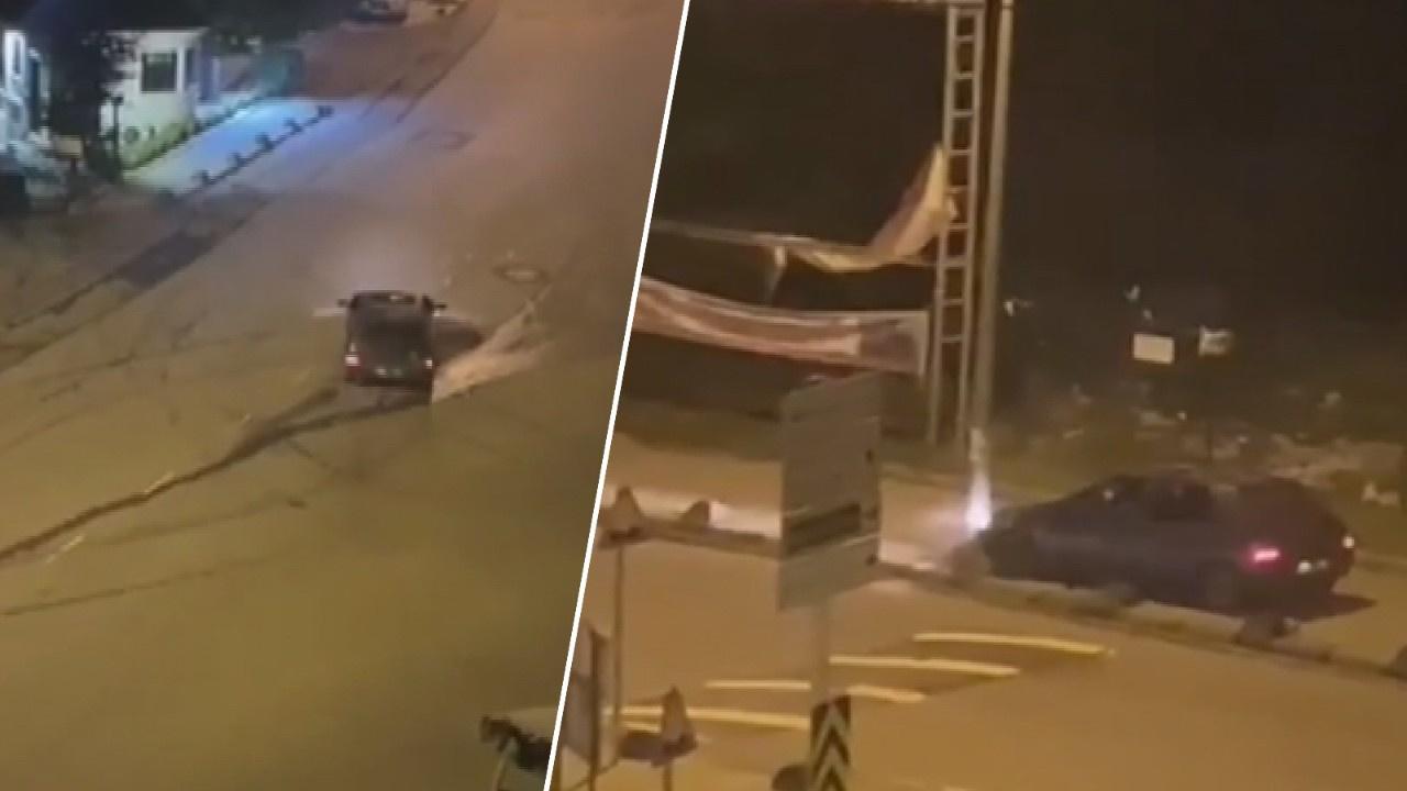 Eyüpsultan'da drift yapan sürücü kaza yaptı