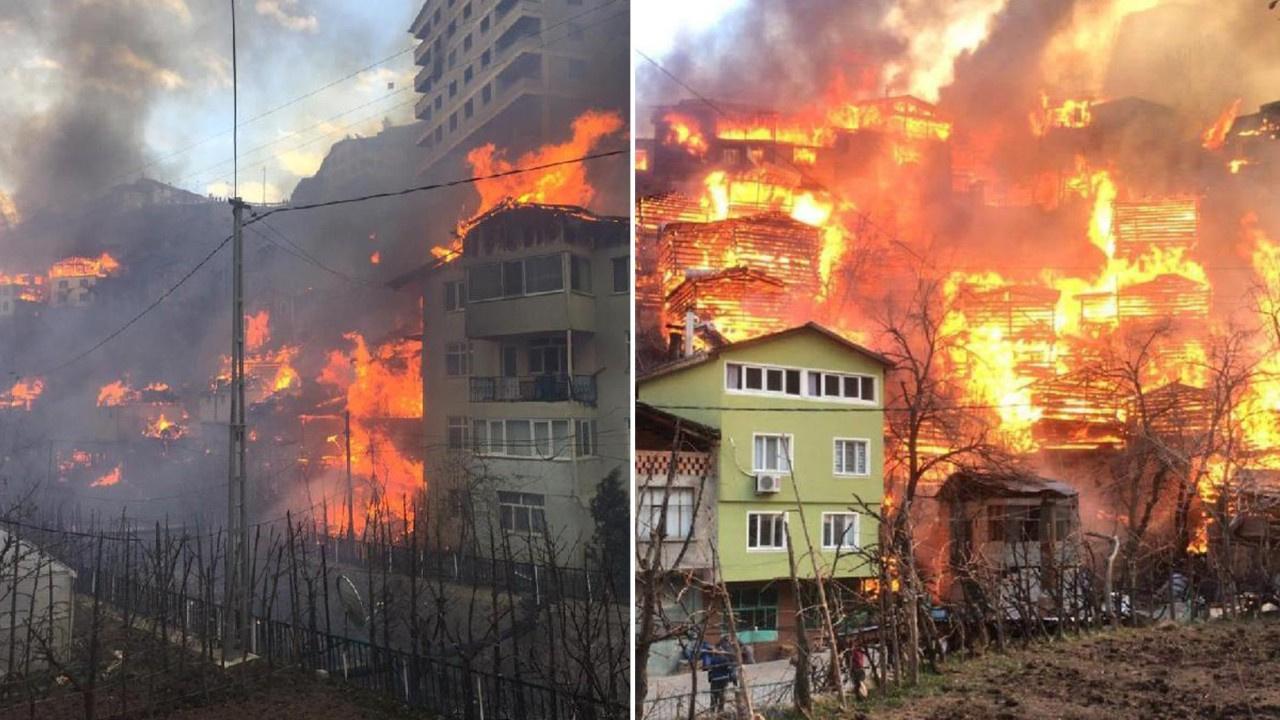 Artvin'de köyde yangın! 50'ye yakın ev alev aldı!