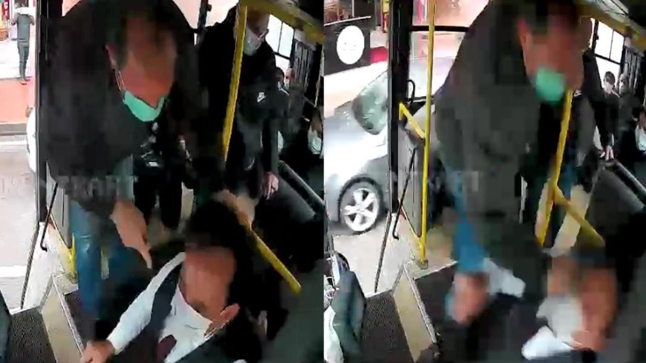 Yolcu dolu otobüsün şoförüne tekme tokat saldırdı