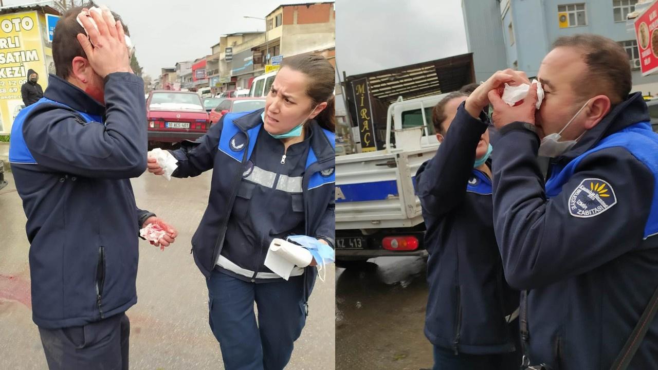 İzmir'de denetim yapan zabıtalara saldırı
