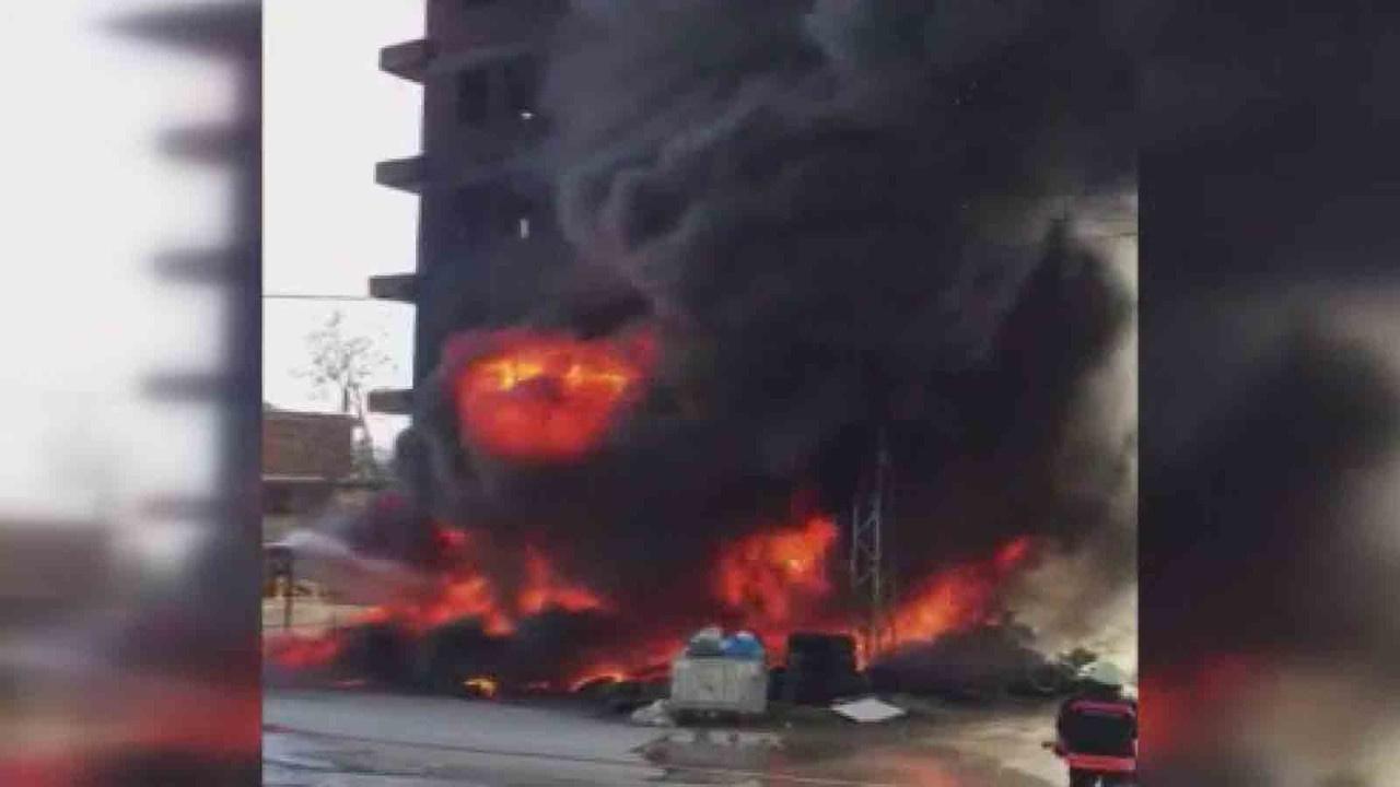Lastik dükkanında korkutan yangın