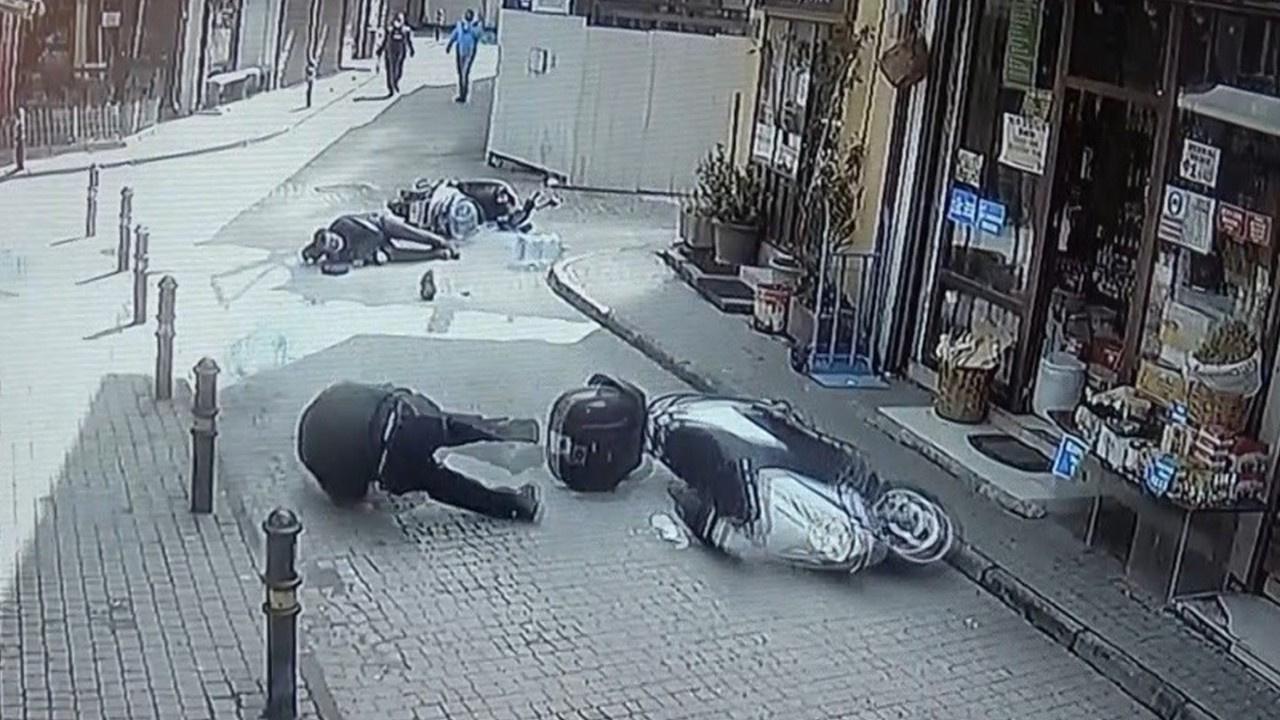 İki motosiklet böyle çarpıştı...