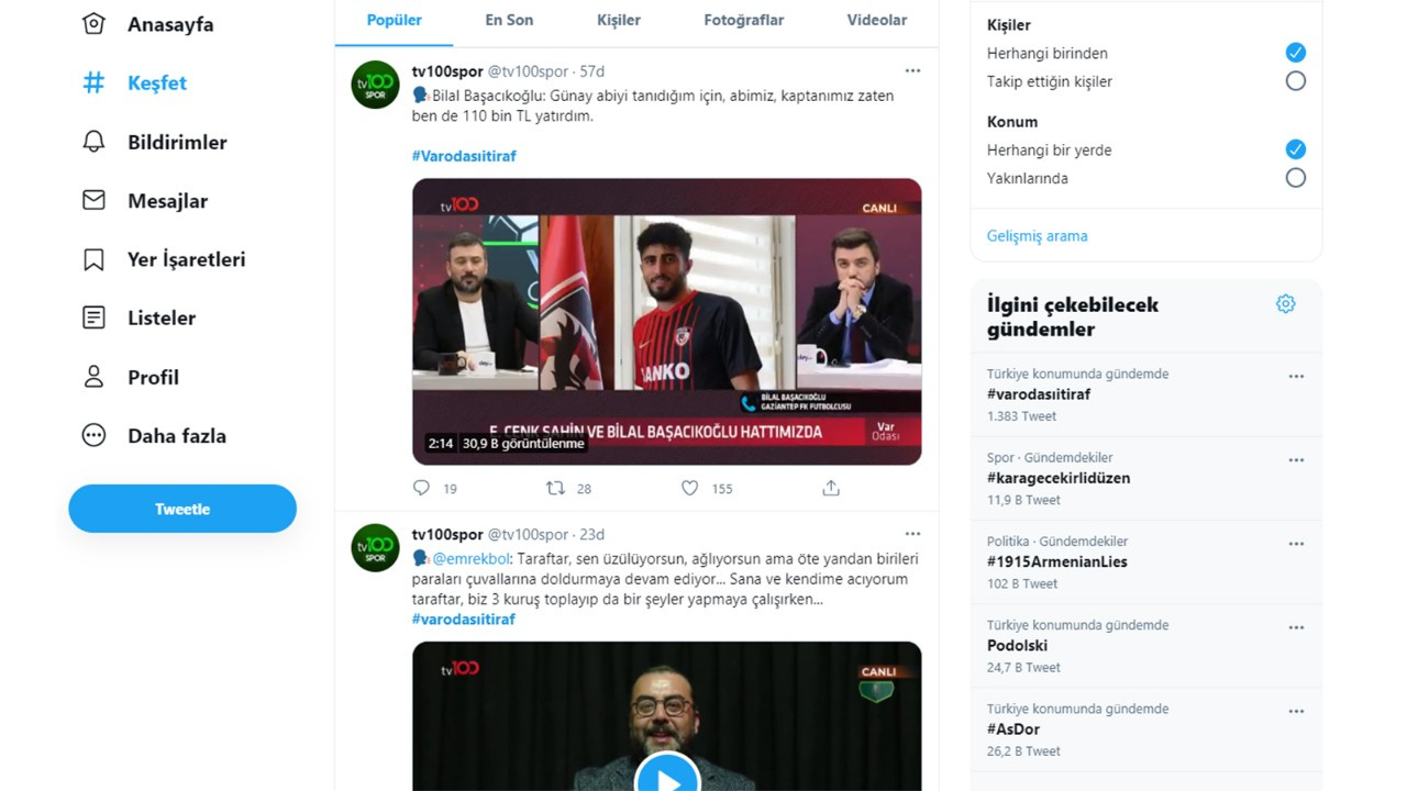 Bahis skandalının ardından #varodasıitiraf TT oldu
