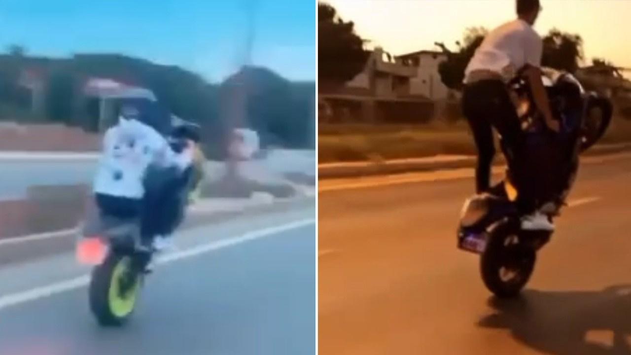Motosikletli gençlerin ölüm dansı! İşte o anlar...