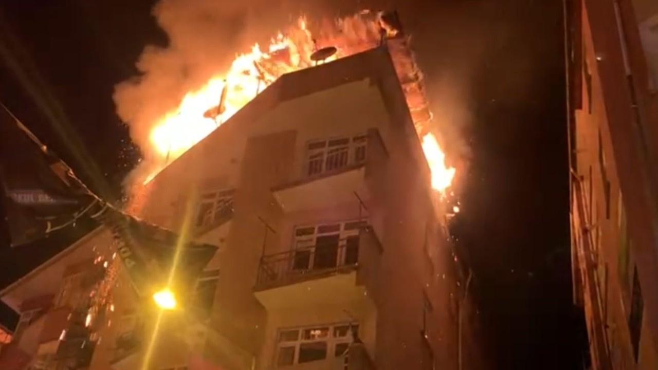 5 katlı binada korkutan yangın..