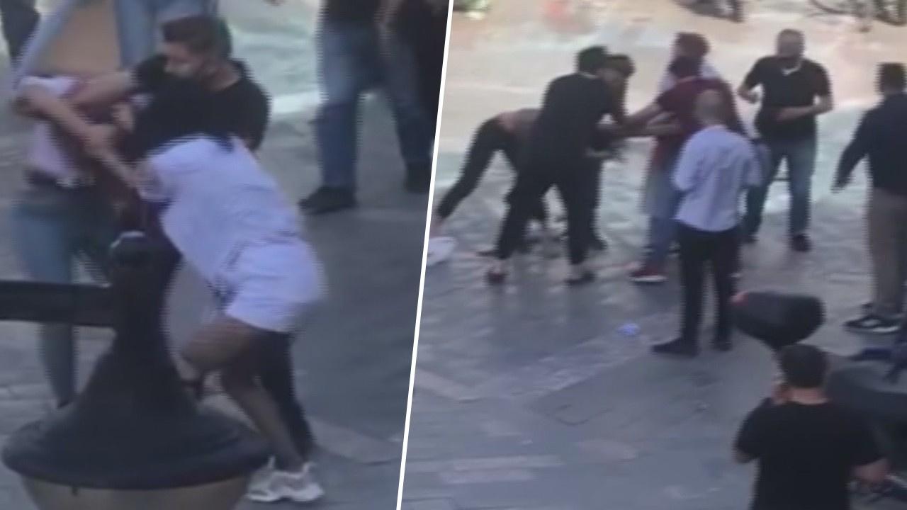 Genç kızlar cadde ortasında kavga etti