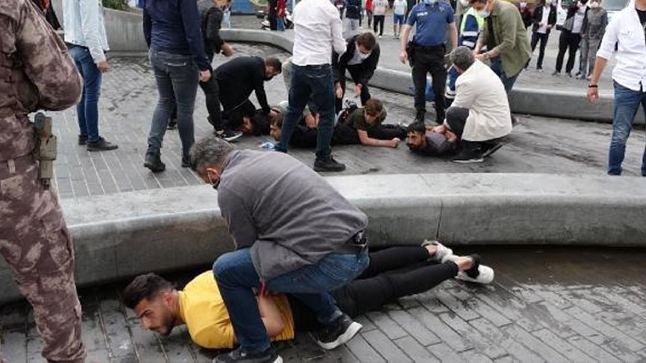 Taksim'de kemerli ve yumruklu kavga