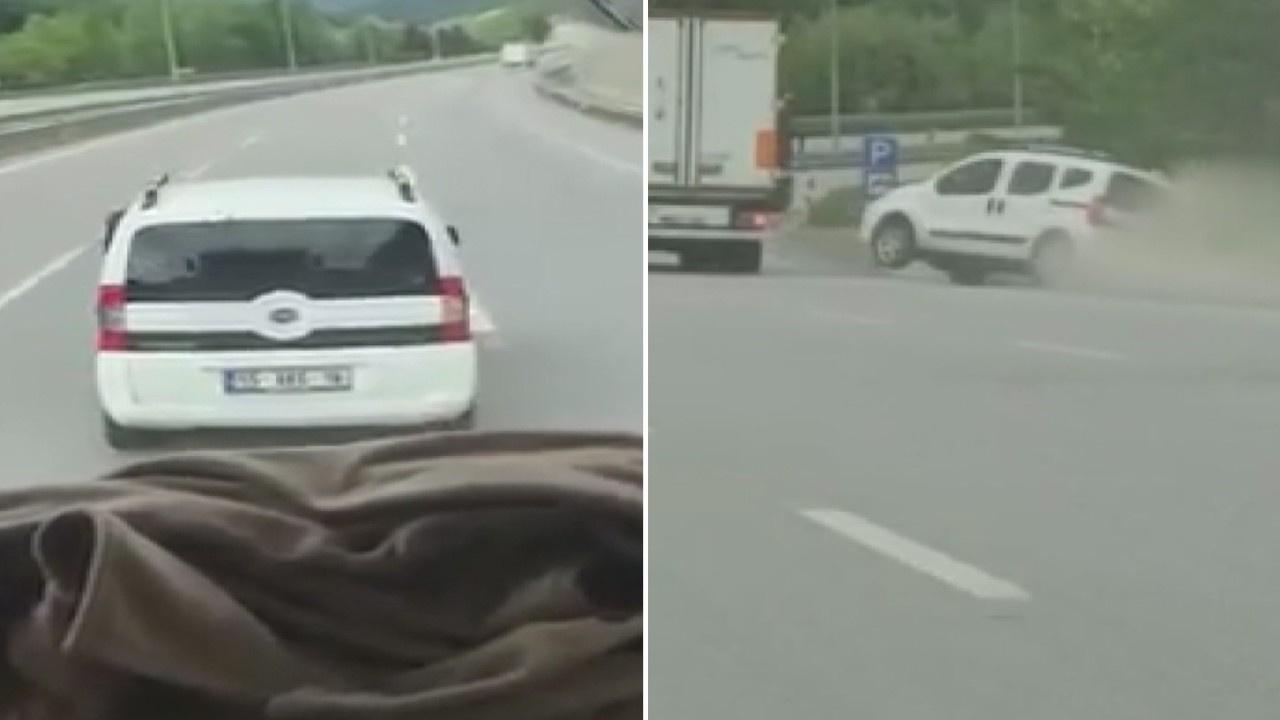 Trafikte yol verme inatlaşması kazayla bitti!