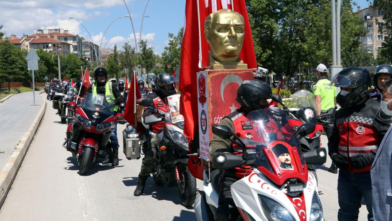 'İstiklal Sürüşü'ne çıkan 250 motosikletli yolda