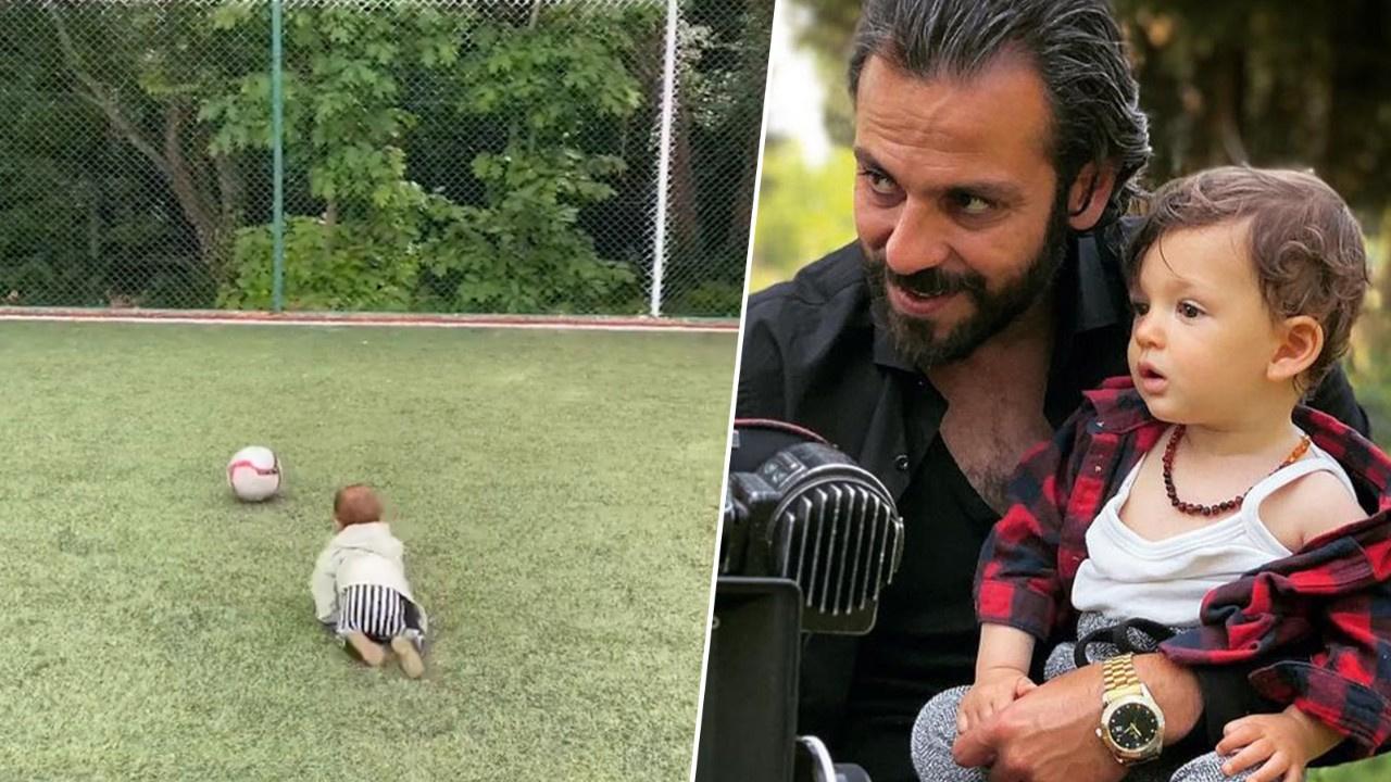 Erkan Kolçak Köstendil oğlu Marsel'le top oynadı!