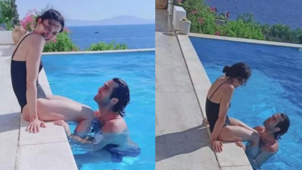 21 yaş küçük sevgilisiyle havuzda poz verdi!