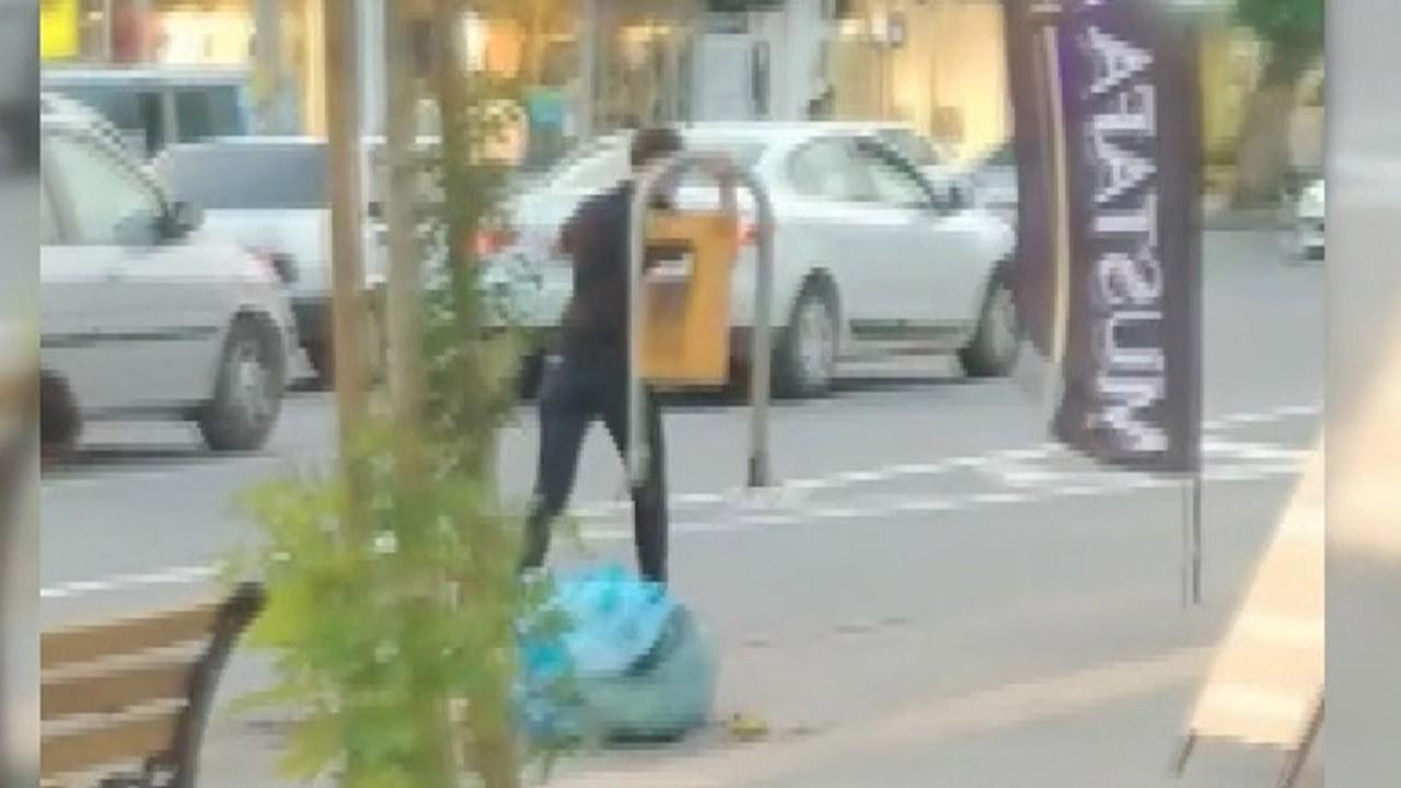 Bir garip hırsızlık... Çöp kutusunu söktü ve...