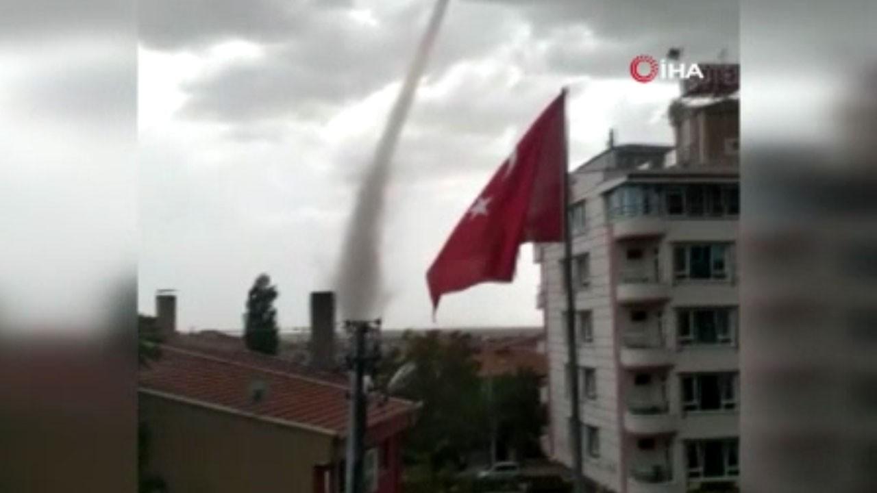 Ankara'da korkutan hortum anları!