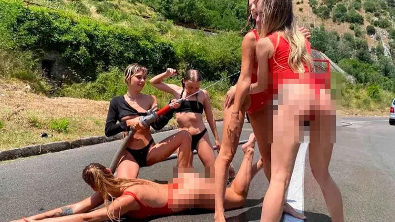 Gökdelende soyunan kadınlardan yeni skandal!