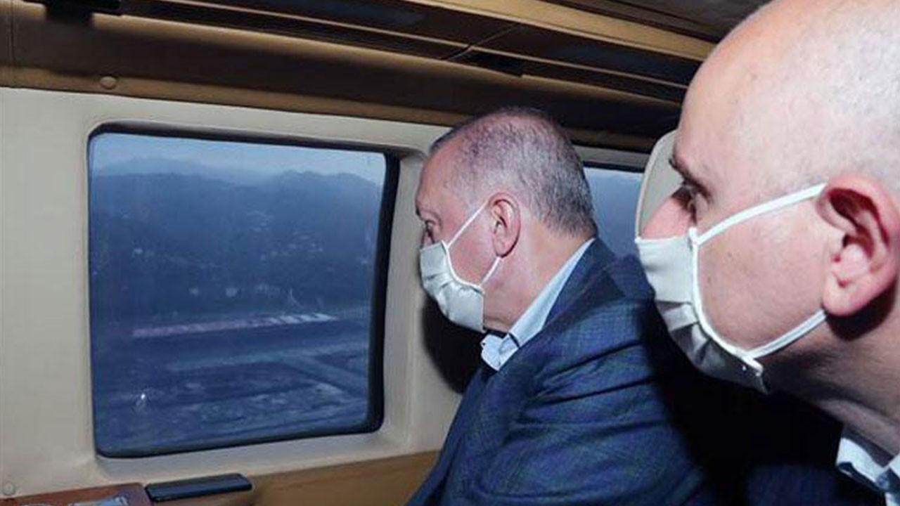 Erdoğan, Rize-Artvin Havalimanını havadan inceledi