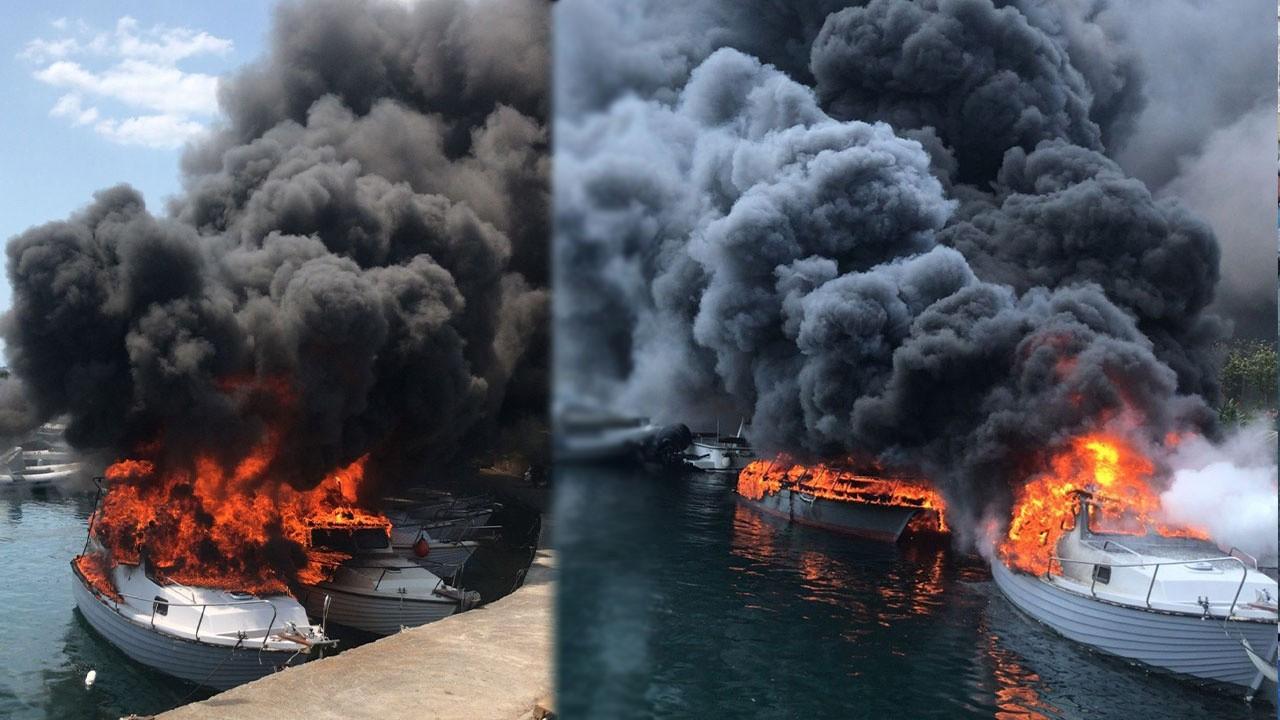 Kartal'da korkutan tekne yangını!