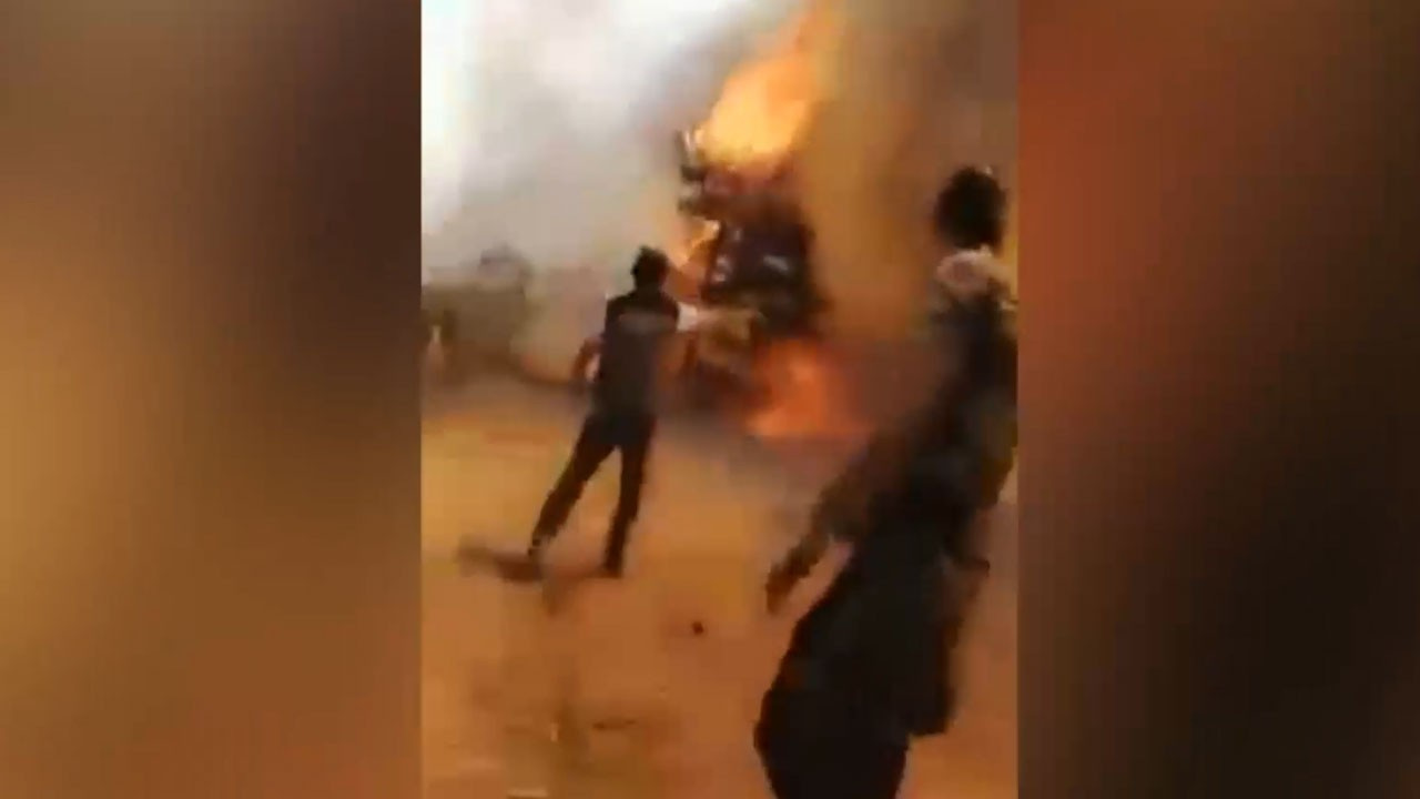 Azerbaycan itfaiye ekibi yangın ortasında kaldı