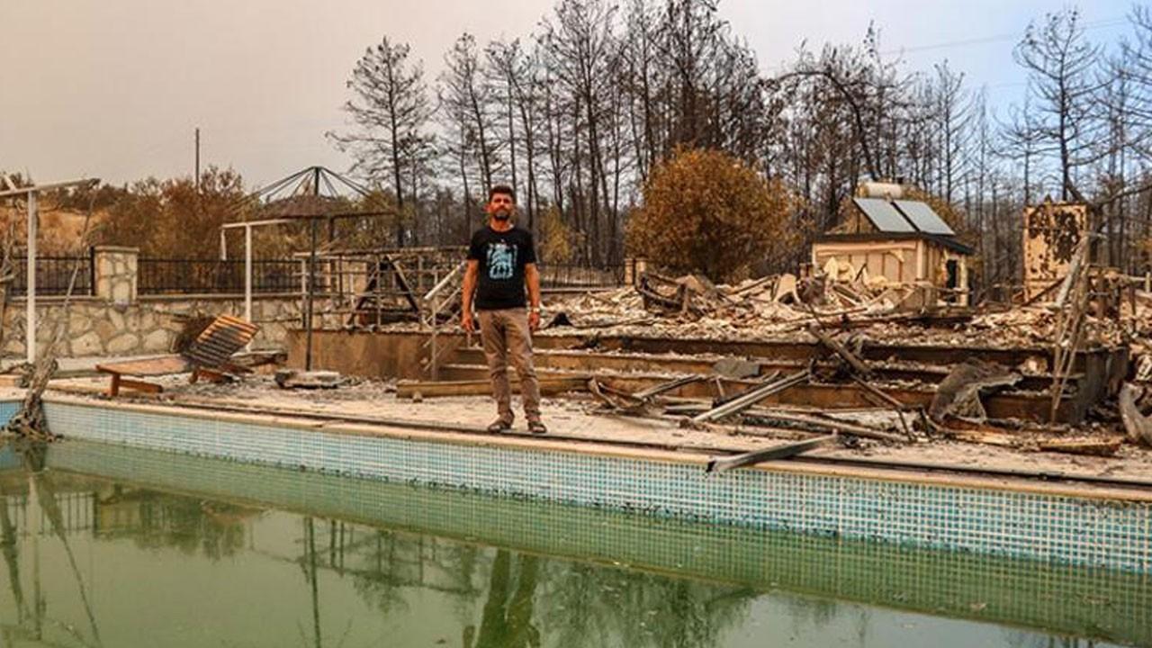 Gözyaşlarıyla anlattı! 6 kişilik aile havuza girerek yangından kurtuldu