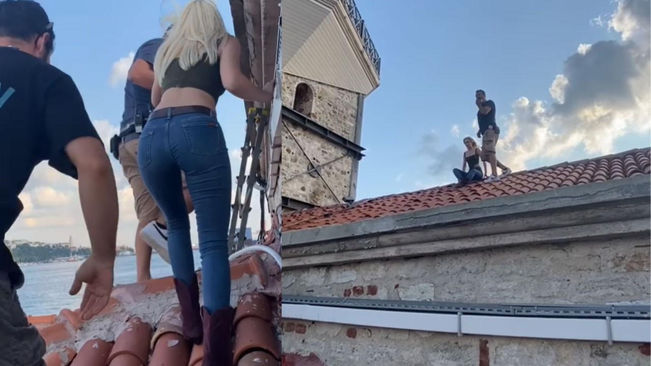 Aleyna Tilki Kız Kulesi'nin çatısına çıktı