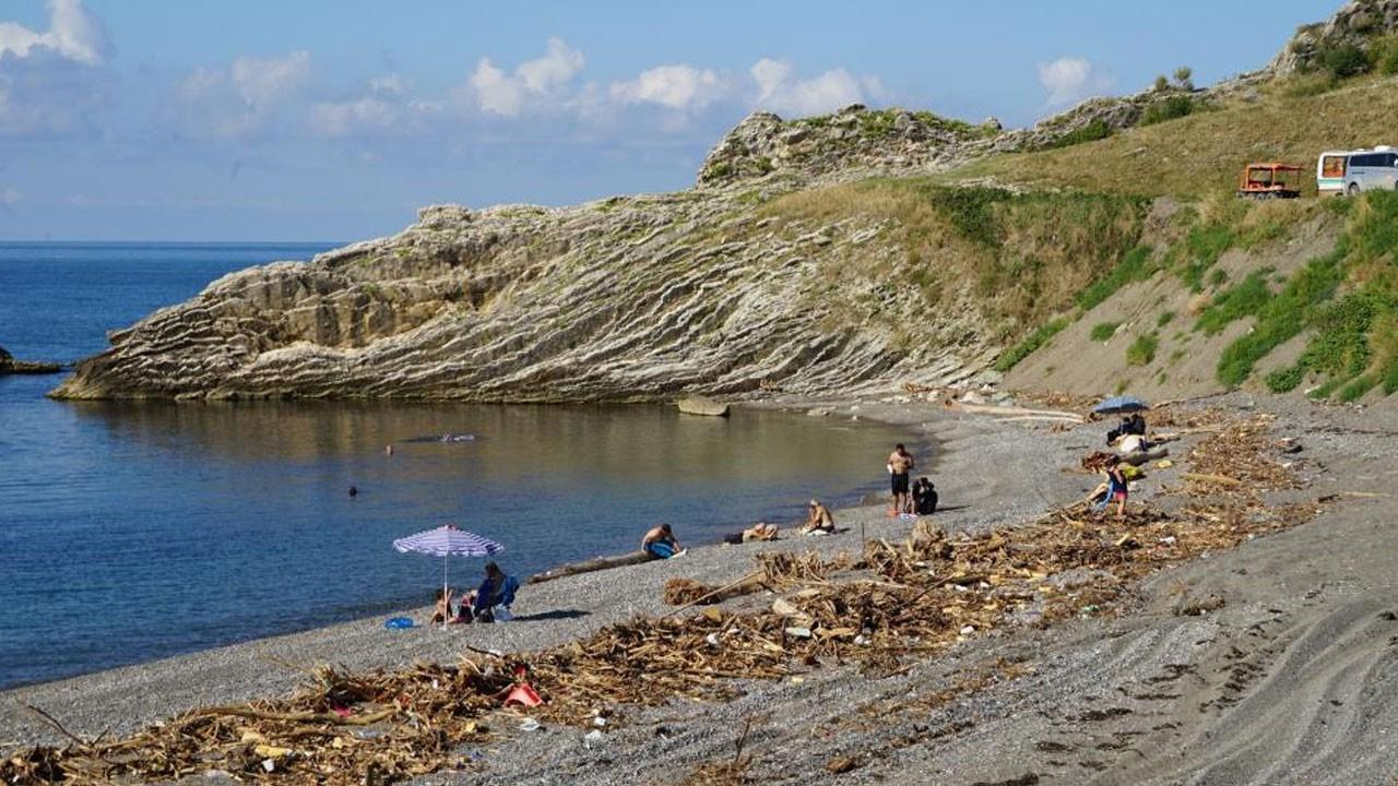 Sahile vuran odunlar arasında denize giriyorlar