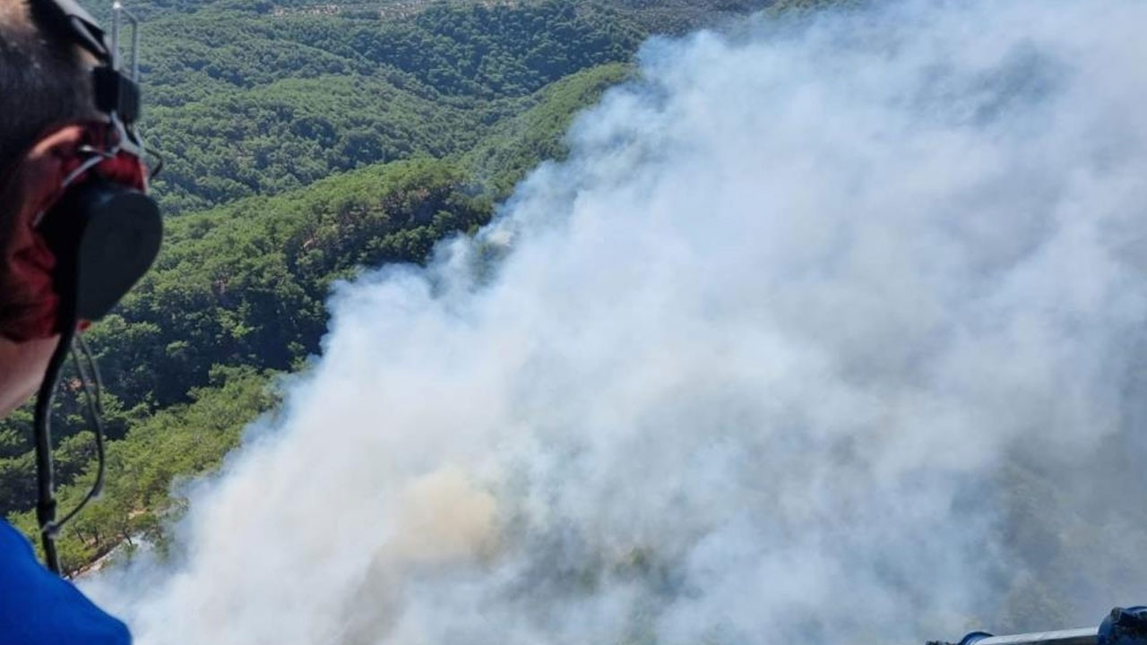Kazdağları eteklerinde orman yangını çıktı