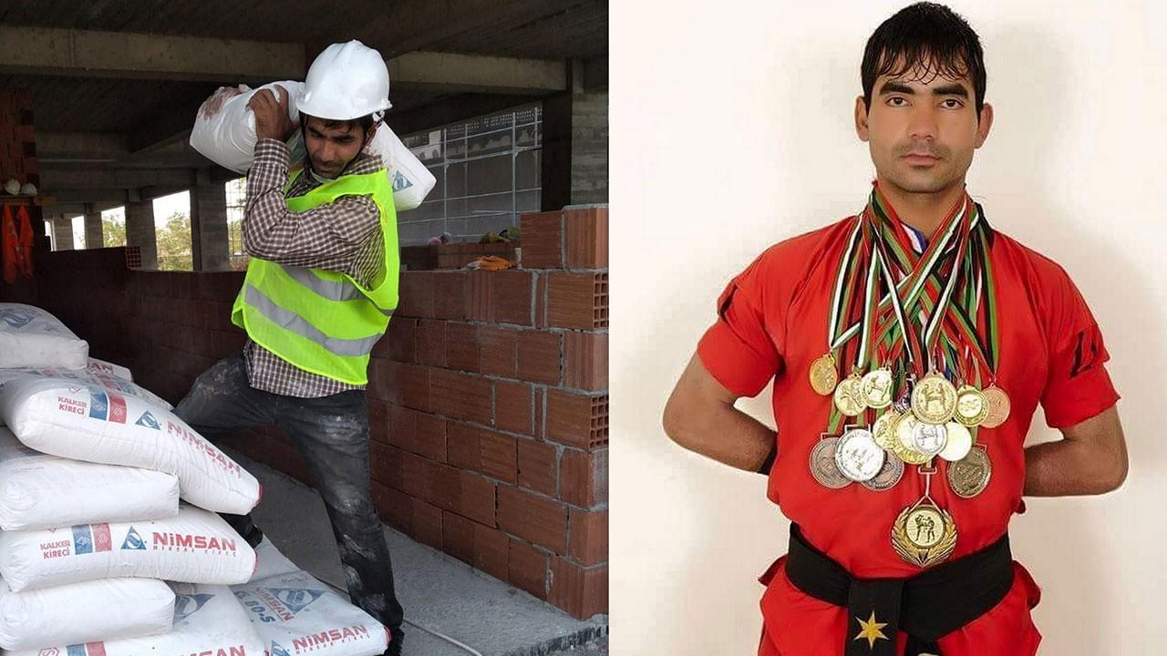 Afgan kick boks şampiyonu inşaatlarda çalışıyor!