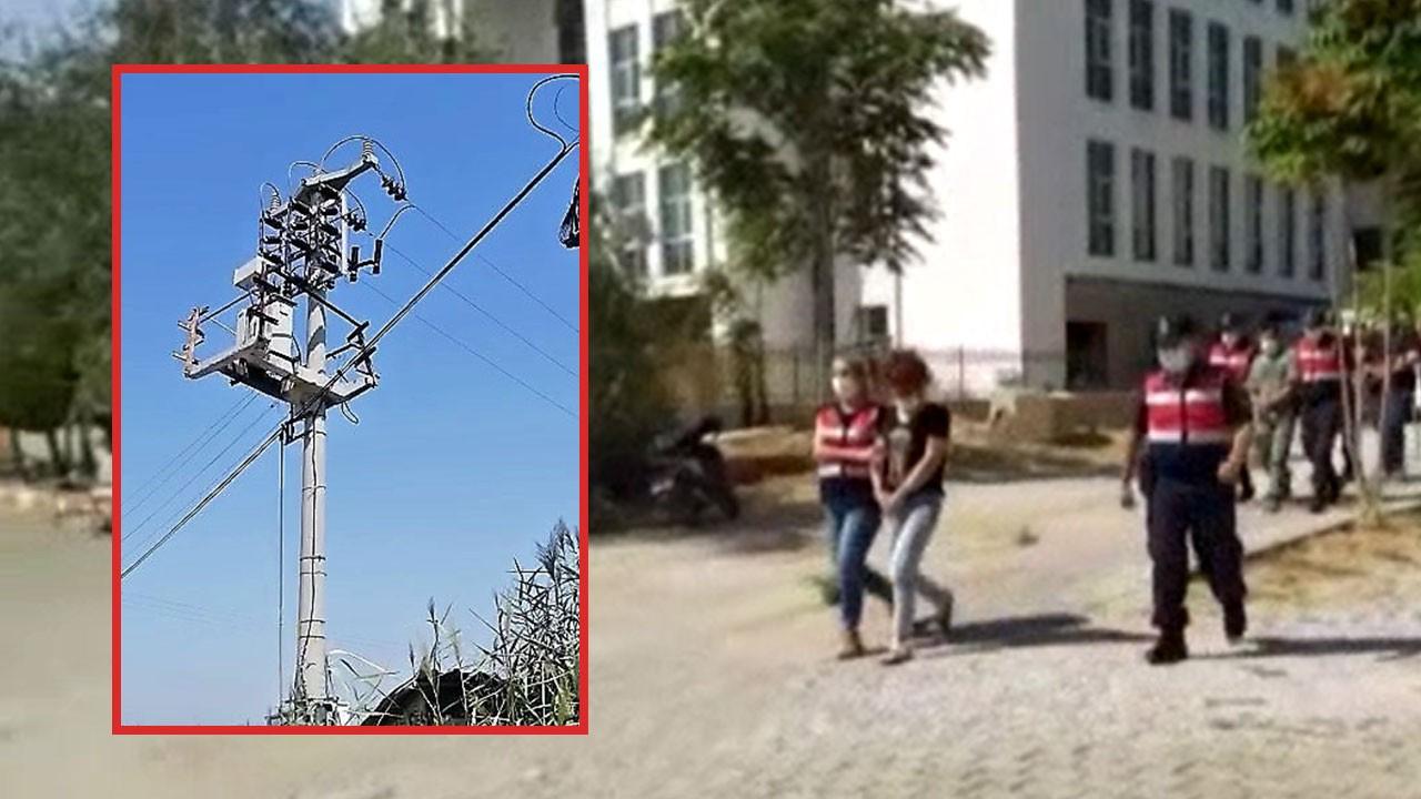 10 metrelik direğe çıkan kadın 250 kiloluk trafoyu