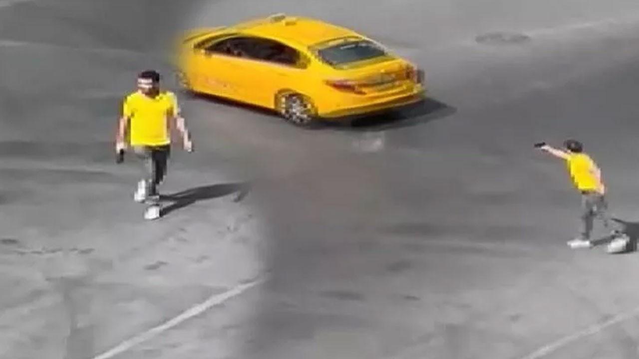 Tartıştığı taksicinin arkasından ateş etti