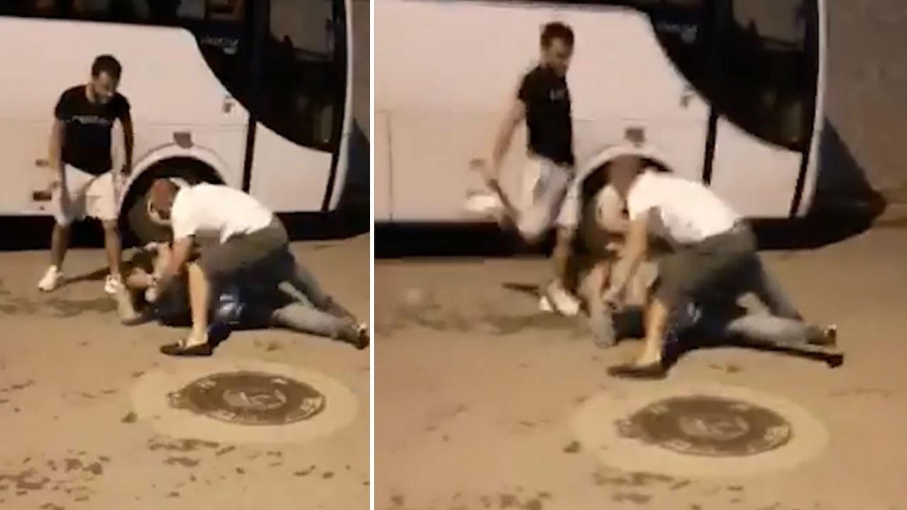Sitede köpek besleyen aileye palalı saldırı