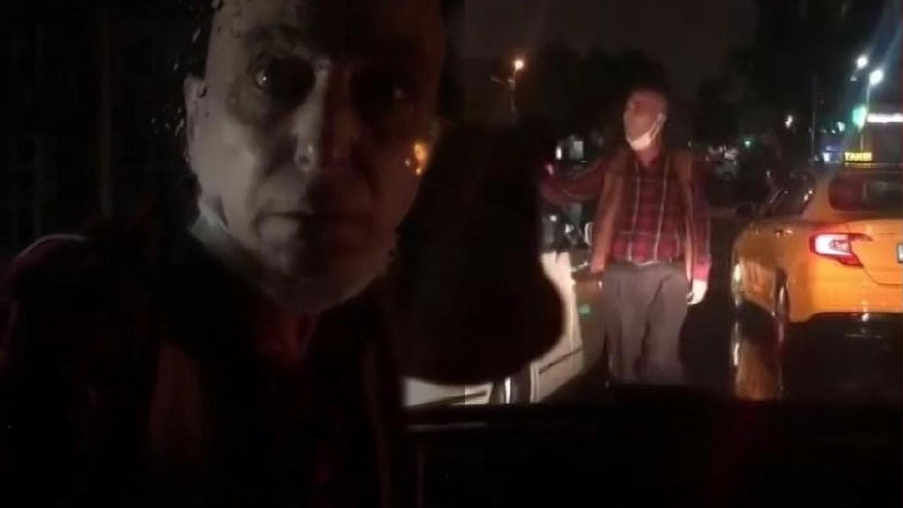 Taksici tartıştığı sürücünün aracını yumrukladı