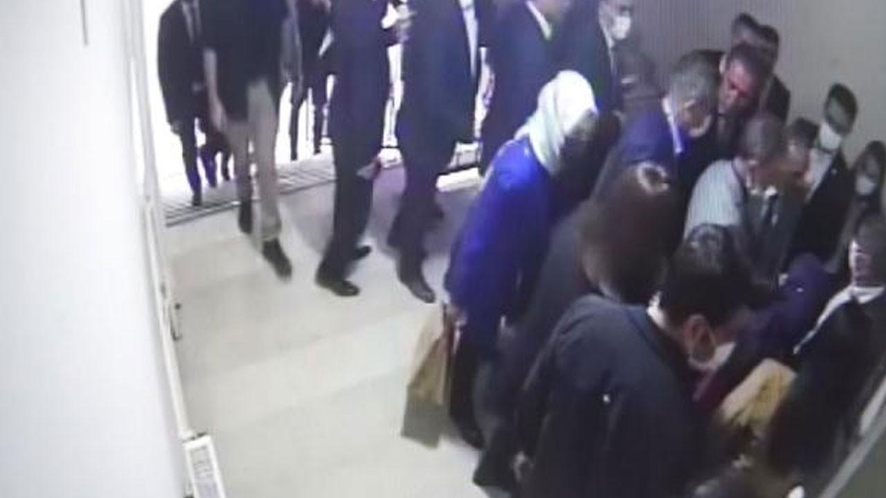 Davutoğlu'nun yaşadığı asansör kazası kamerada
