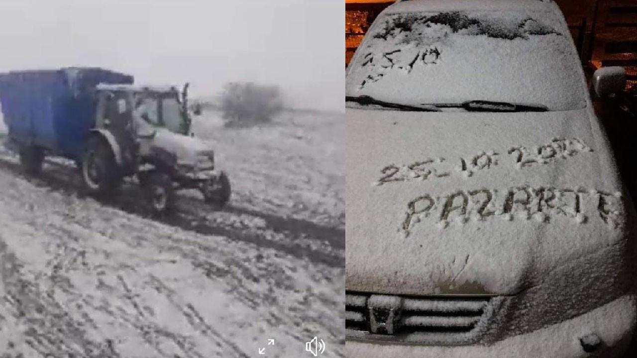 Tokat'ta kar yağışı! Beyaza büründü